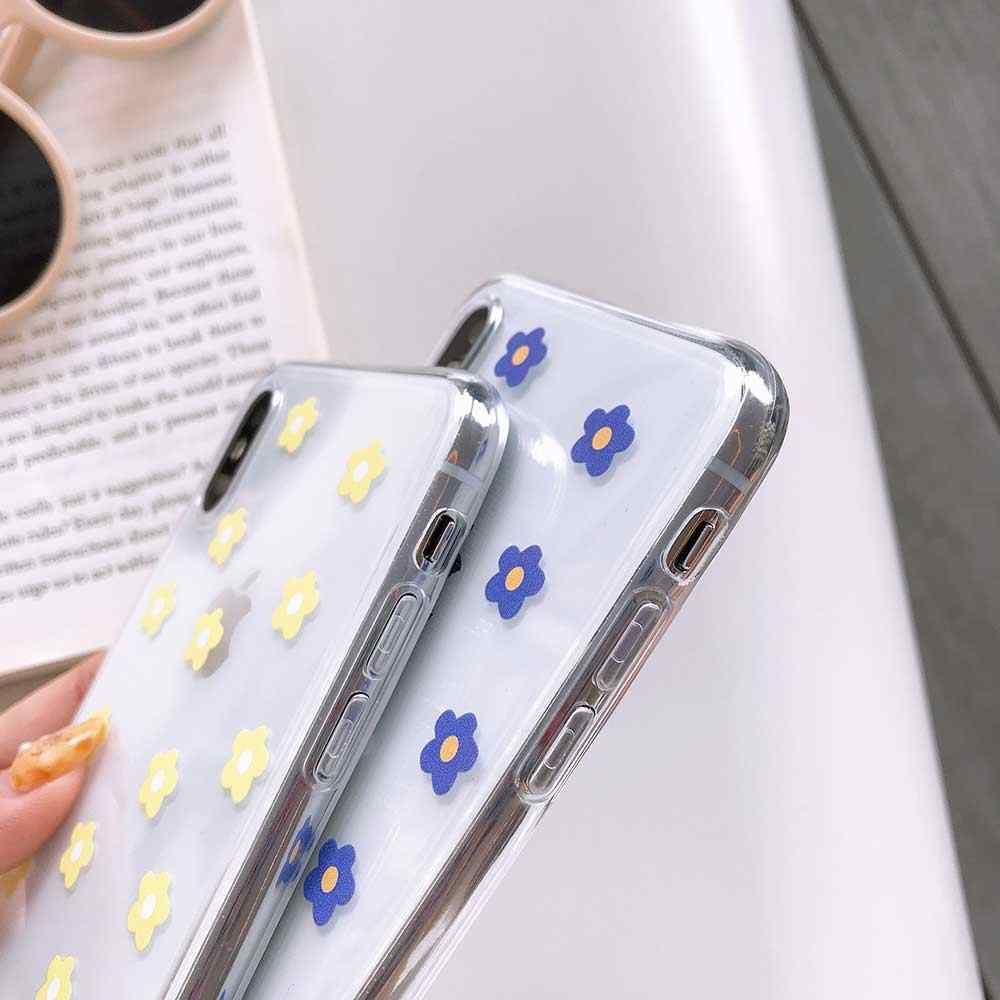 Trường Hợp trong suốt Cho iphone XS MAX 7 6 6 s 8 cộng với XR X Thời Trang Vàng Xanh Đỏ Trắng Daisy hoa Flower Điện Thoại Trường Hợp Mềm Bìa
