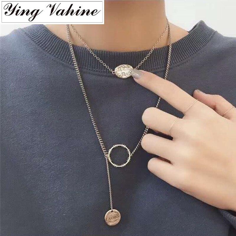 Ying Vahine 2 pièces 925 argent Sterling amour du père Long collier femmes collier mujer naszyjnik collares de moda 2019