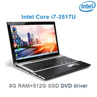 P8 12 black 8G RAM 512G SSD i7 3517u 15.6 gaming laptop DVD driver HD screen business notebook computer
