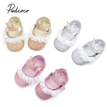 Pudcoco Rrincess Crown Crib Shoes Toddler Baby Girls Soft Sole Sequins Lace Spliced Anti-slip Pram Prewalkers Sneakers 3-15M