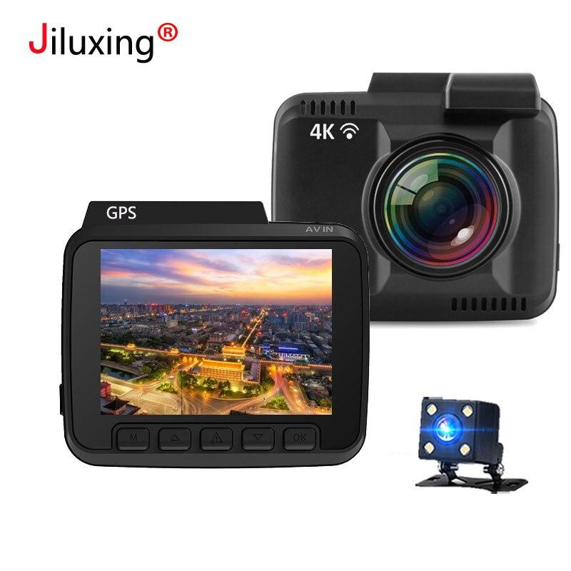 Novatek 96660 WIFI Voiture DVR 4 k 2160 p caméras De Voiture GPS deux caméras de Vision Nocturne Dash Cam Enregistreur Registrator APP Pour IOS Android