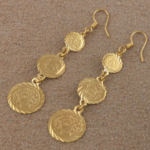 Image 4 - Anniyo gold color muslim islamic earrings coin,Islam ancient coin,Arab jewelry women/gifts,Fashion Gift Item #003306