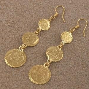 Image 4 - Anniyo Золото Цвет мусульманские исламские серьги монета, ислам древняя монета, арабские ювелирные изделия женщин/подарки, мода подарок Пункт #003306