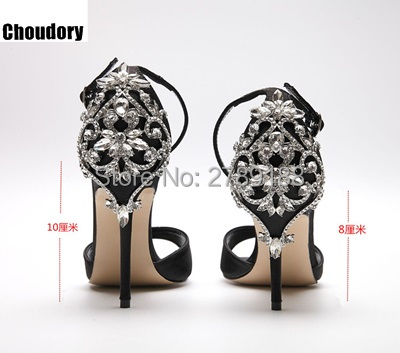 woman sandals summer fashion heel bling bling crystal high heels thin heel pointed toe black Rhinestone pumps female dress shoes yudashkin jeans кофточка