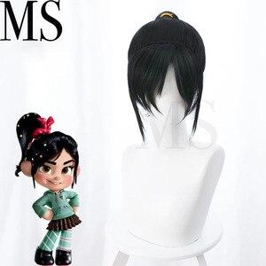 Image 5 - Wreck it ralph cosplay traje vanellope von schweetz jogo anime hoodies peruca saia meia calça hairband para crianças menina feminino