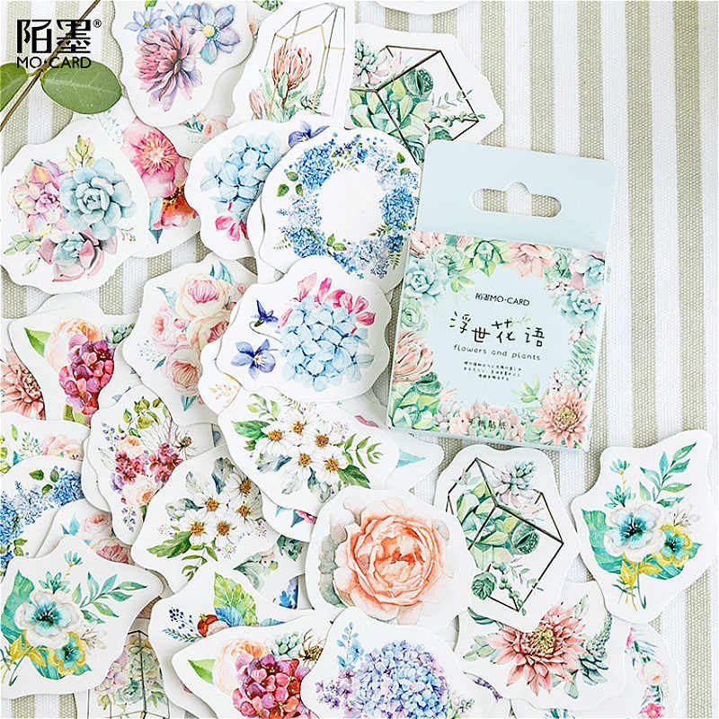 40Pcs/set Flower Language Children Toy Stickers Diary Decoration Diary Sticker Stationery Sticker Memo Sticker Children's Gifts