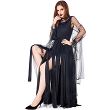 Sexy Black Tassel Witch Costume Cosplay For Adult Halloween Carnival Party Suit Dress Up