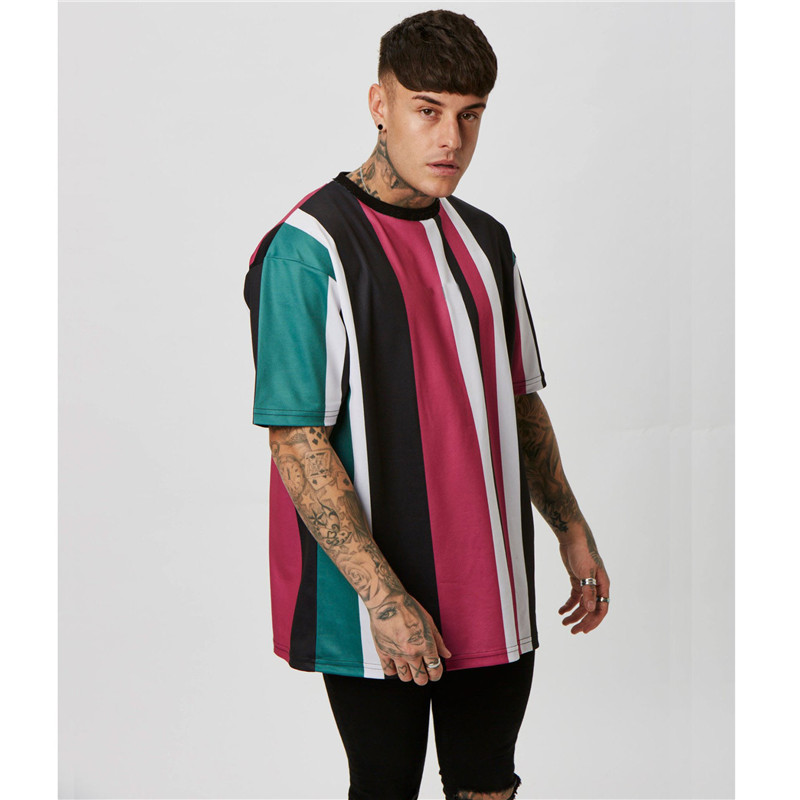 Quick Dry Compression Vertical Stripe Oversized Men's Tshirts Short Sleeve Summer New Korean Style Loose T-shirt Men Male Tee