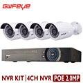 GWFEYE 2MP POE NVR Com 4 PCS de 4 Canais Ao Ar Livre 1080 P 2.0MP Full HD câmeras IP POE 4CH POE NVR Conjunto Kit CCTV Sistema de Segurança