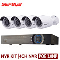 GWFEYE 4 Channel 2MP POE NVR  With 4PCS Outdoor 1080P 2.0MP Full HD POE IP cameras 4CH POE NVR Set  CCTV Kit Security System