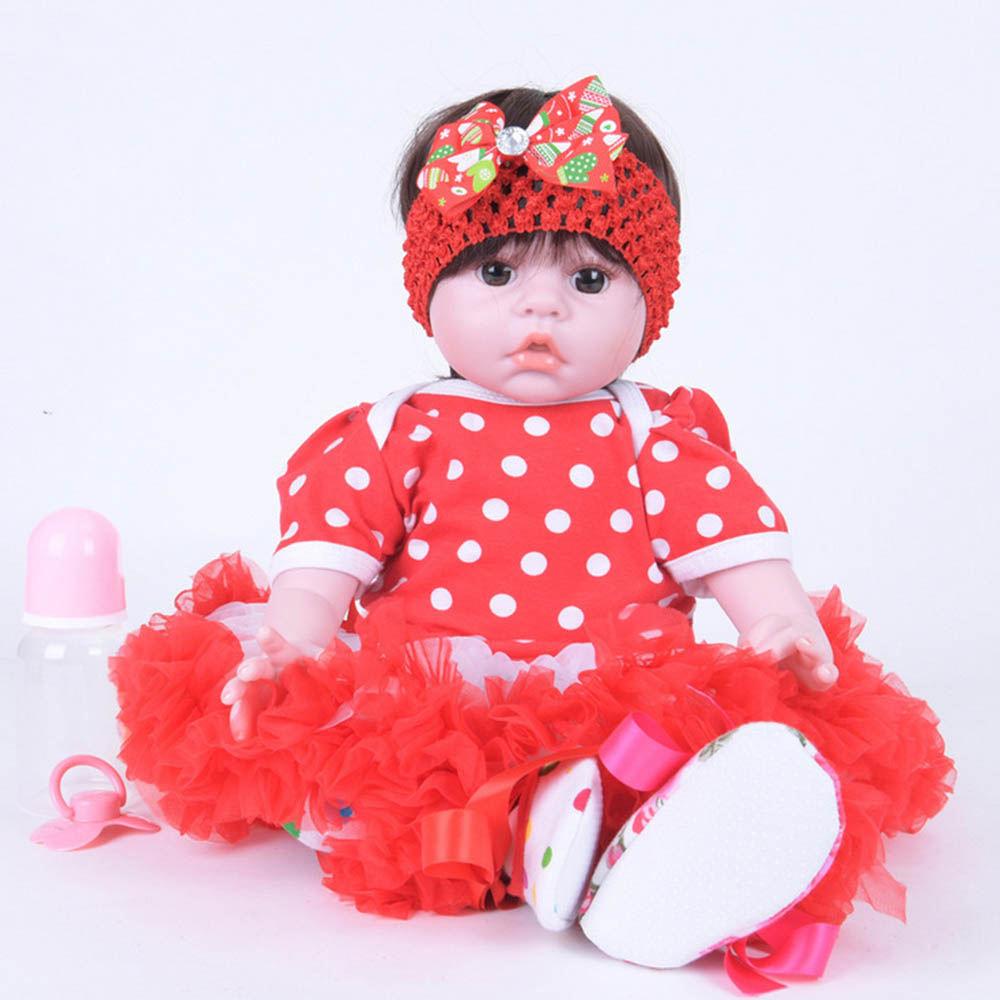 20 inches Realistic Newborn Girl Doll Baby Silicone Reborn Dolls with Soft Cloth Body Toys for Kids Birthday Xmas Gift 22 inches soft silicone reborn baby dolls cloth body real looking newborn alive girl babies boneca toy kids birthday xmas gift