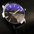 Yazole relojes reloj luminoso reloj de los hombres de lujo de cristal azul a prueba de agua reloj de los hombres reloj de cuero erkek kol saati relogio masculino
