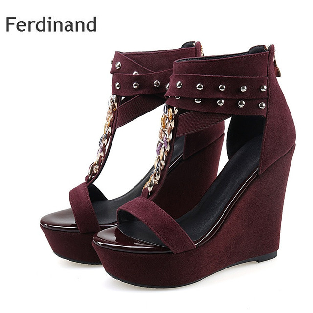 f13ed13032 Summer high heel sandals Genuine leather women shoes Solid color Red Black  Rivet Buckle Peep toe