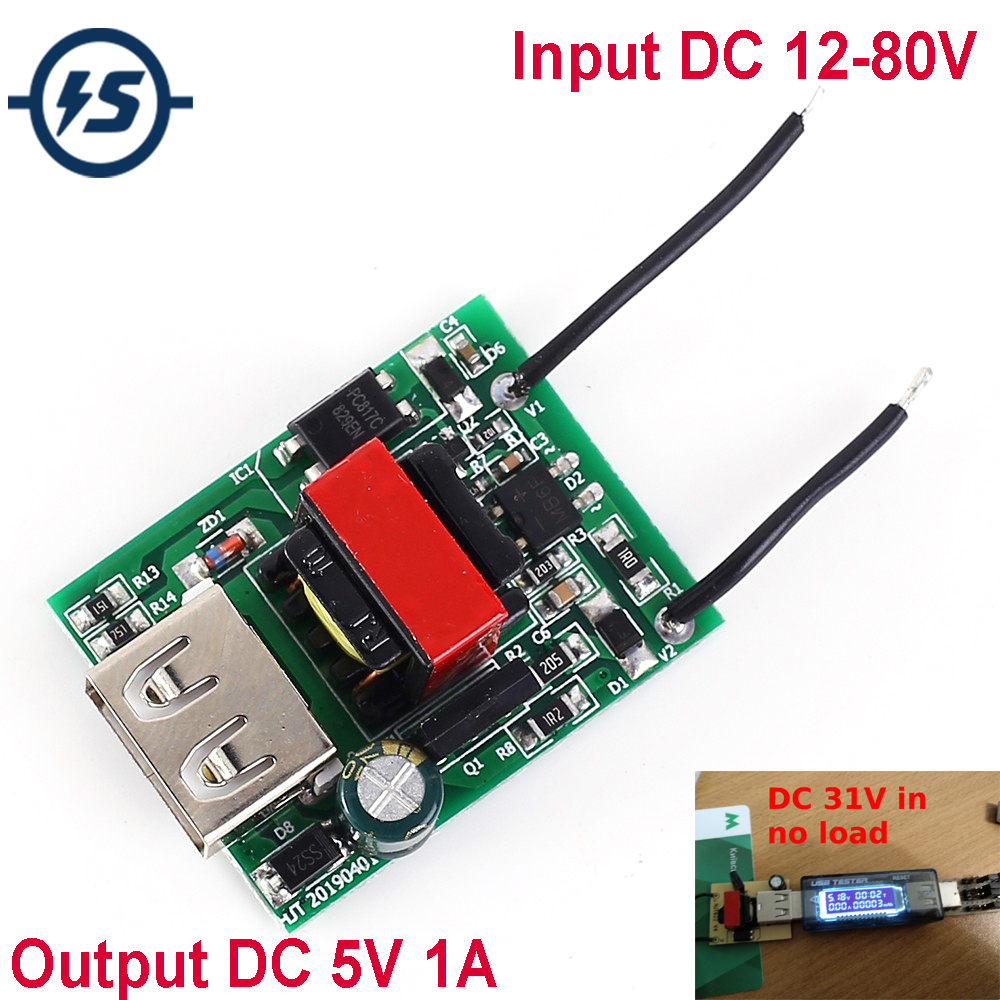 Buck Converter Stabilizer DC-DC Step Down Module 12V 24V 36V 48V 72V To 5V 1A USB Galvanic Isolated Power Supply