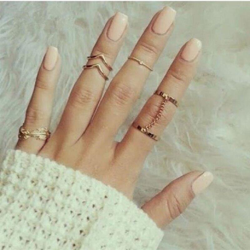 Nova Moda estilo Punk Ouro sliver Cor Empilhamento Conjunto Anel de Dedo midi Knuckle anéis Folha Charme para as mulheres Presentes da Jóia