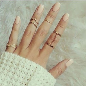 New Trendy Punk style Gold sliver Color Stacking midi Finger Knuckle rings Charm Leaf Ring Set for women Jewelry Gifts