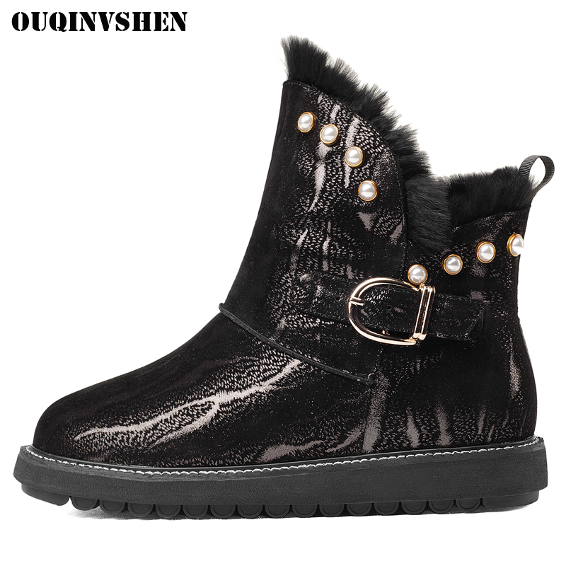 OUQINVSHEN Round Toe Flat Women Snow Boots Winter Fur Wool Ladies Boots Fashion Buckle Crystal Platform Women Snow Ankle Boots doratasia big size 34 43 women half knee high boots vintage flat heels warm winter fur shoes round toe platform snow boots