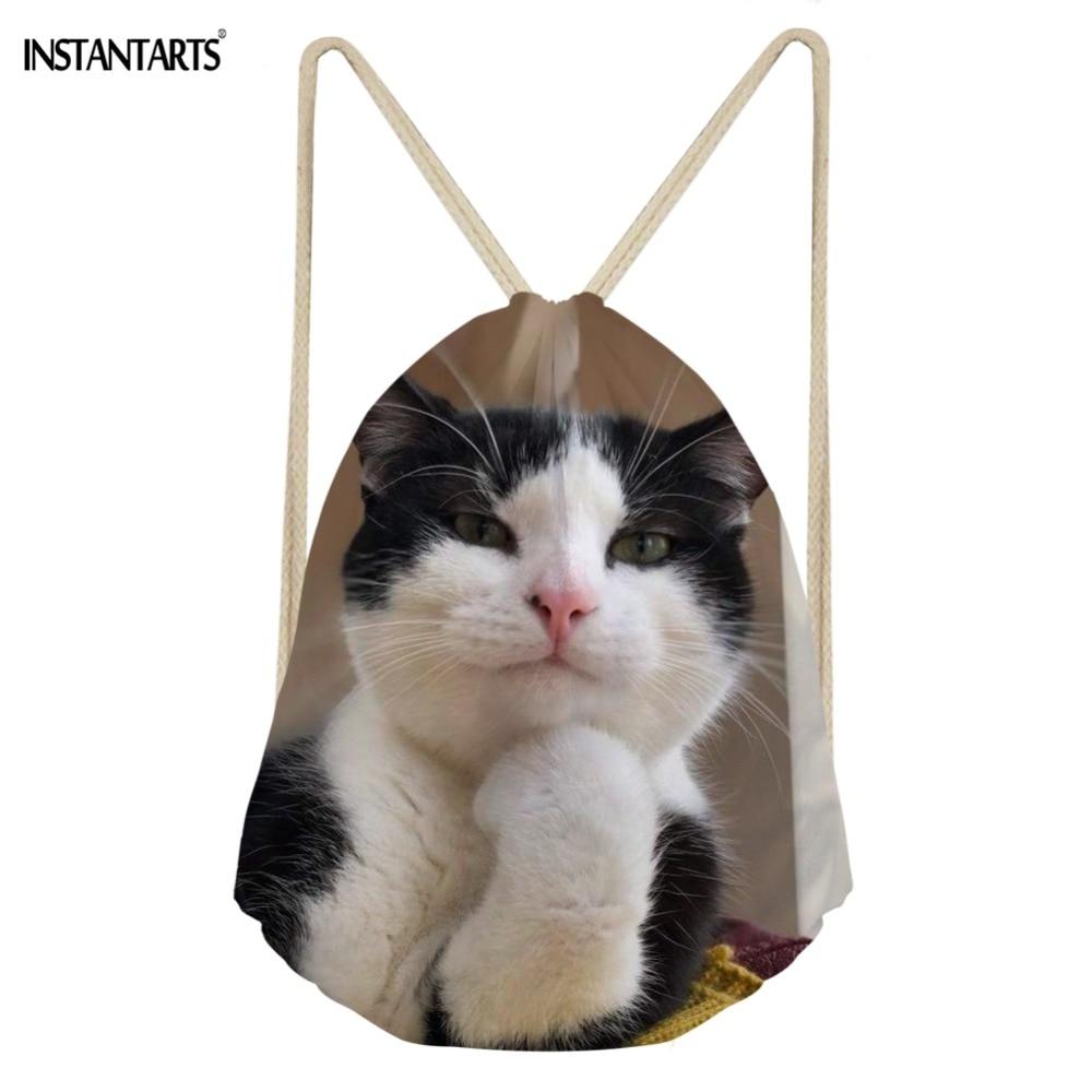 INSTANTARTS 3D Animal Cat Funny Printing Fashion Women Drawstrings Bags Brand Design Light Strap Travel Storage Backpack Daypack