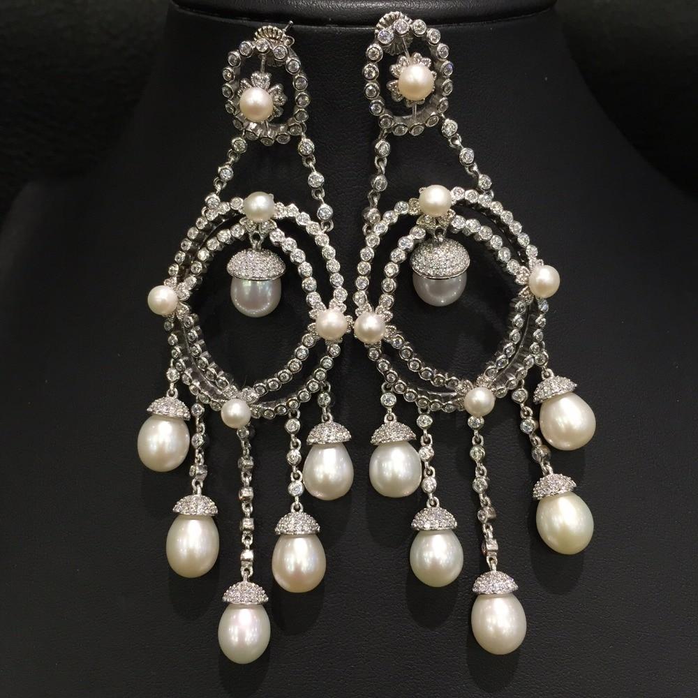 jemné šperky pravá skutečná sladká voda perla kapka náušnice přírodní slza kapka tvar 925 mincovní stříbro