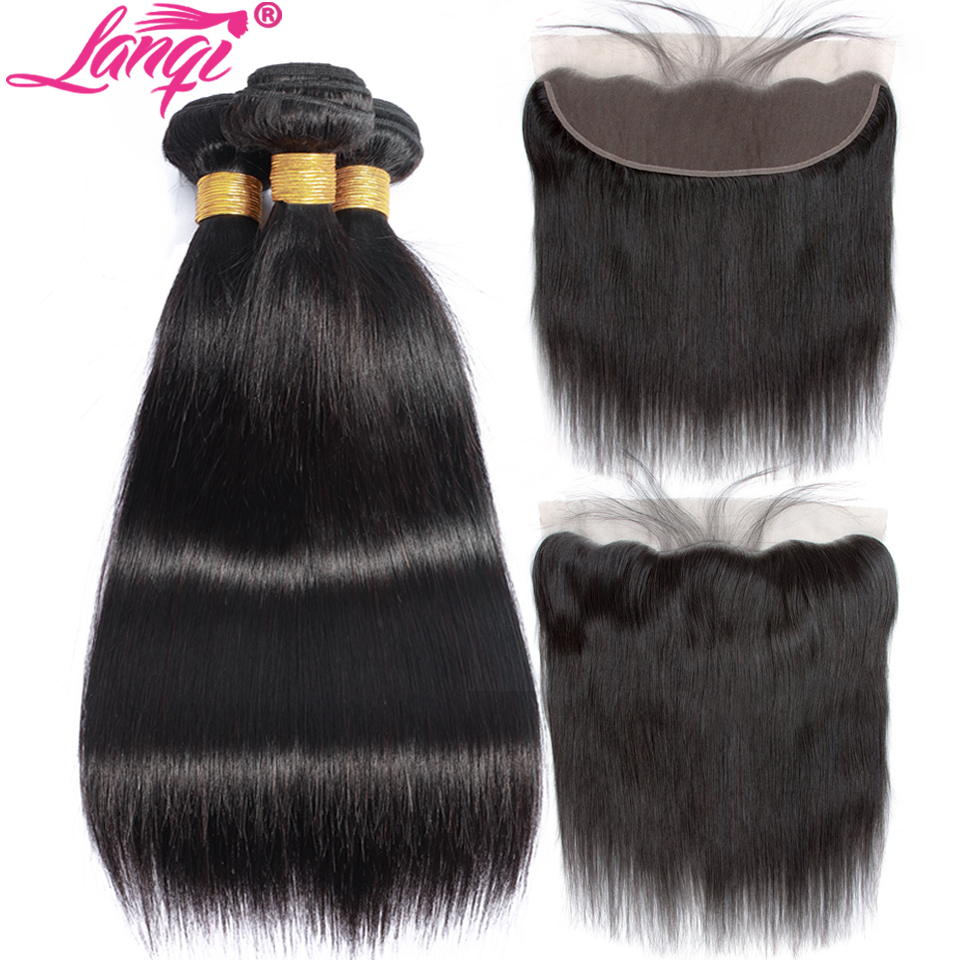 Lanqi Straight Hair Bundles With Frontal Brazilian Human Hair Weave Bundles With Lace Frontal Peruvian Hair Bundles With Closure