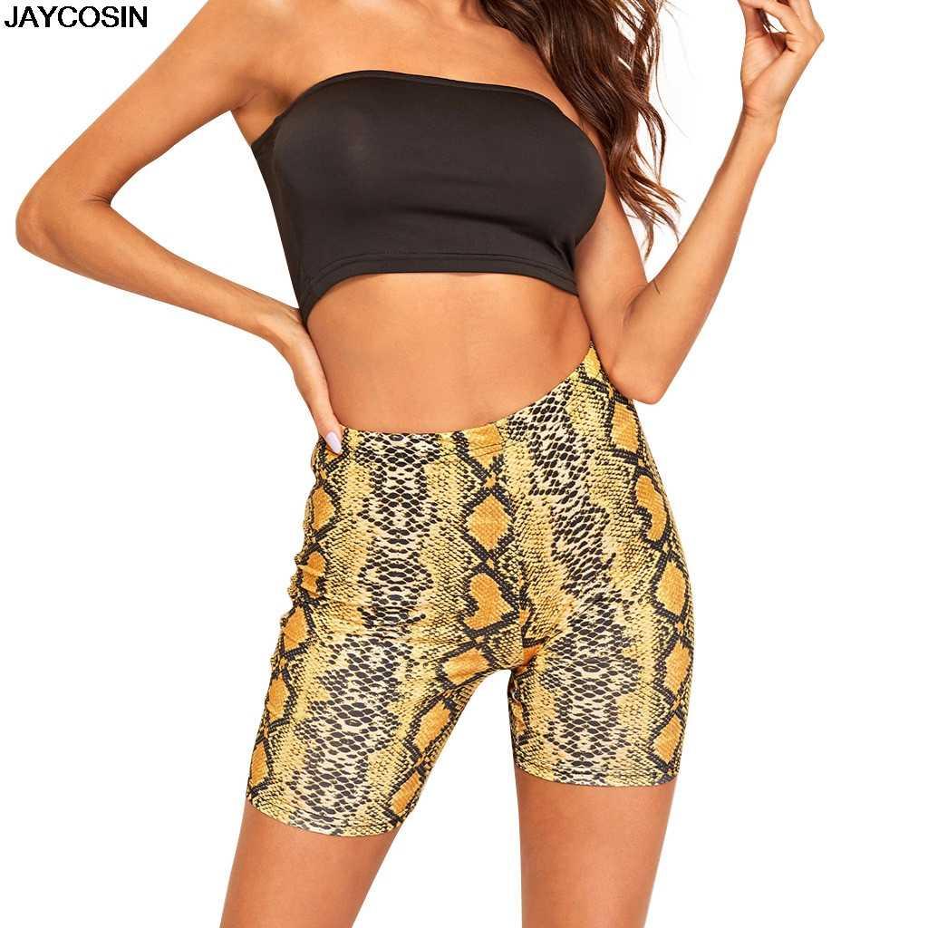 Sexy kobiety lato spodenki nowy wąż druku wysokiej talii szorty elastyczny pas krótkie spodnie kobiet spodnie Pantalones JAYCOSIN 9717