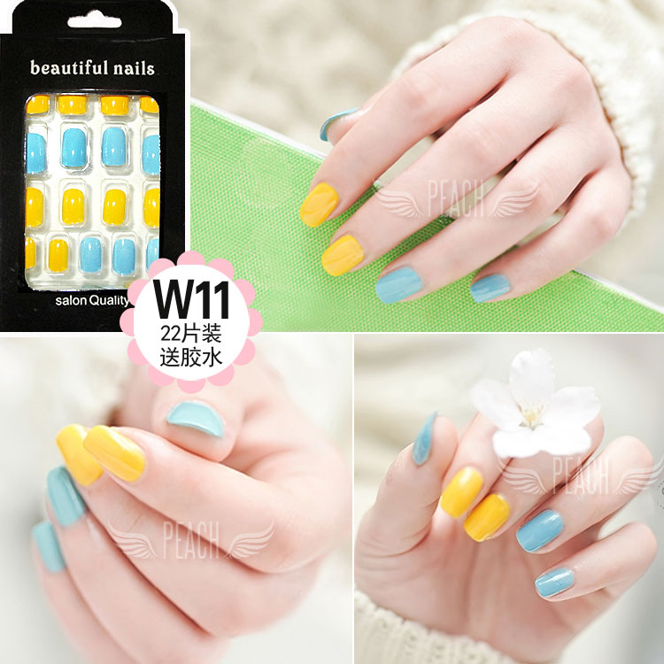 Bright yellow and blue pure color false nails Japanese Acrylic cute ...
