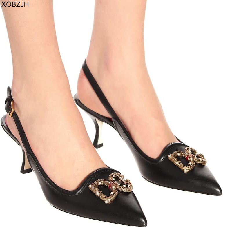Italian Office Shoes Women Heels Pumps 2019 Luxury Brand Designer Pumps Black White Ladies Leather Sandals Shoes Woman Lace Up(China)