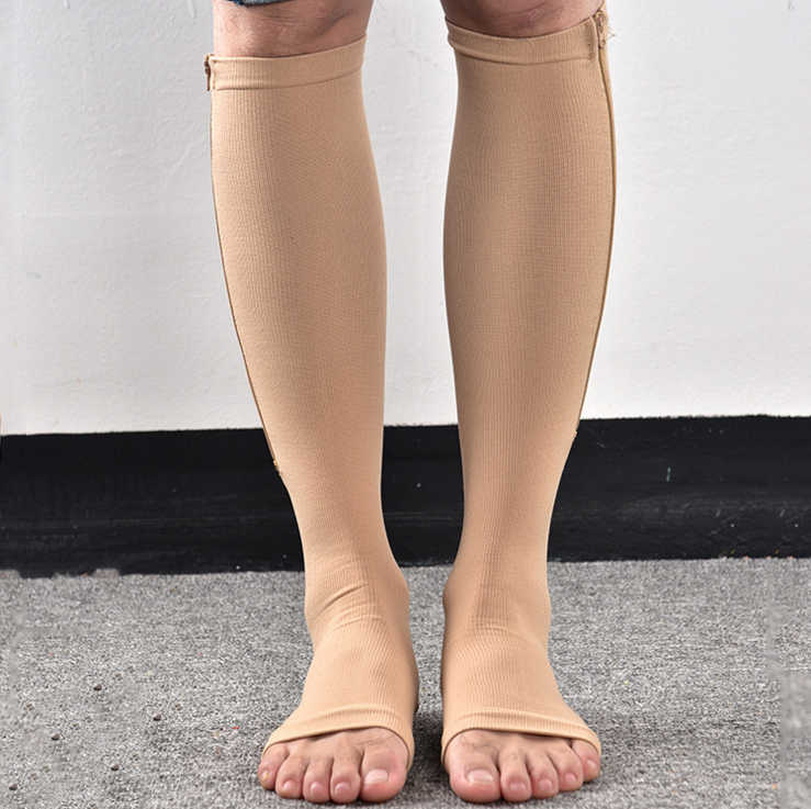 6c19339bc5 ... Unisex Zipper Compression Socks With Open Toe-Best Support Knee High  Zipper Stocking High Quality ...