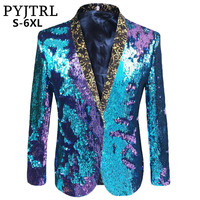 PYJTRL S 5XL Tide Men Double Color Sequins Suit Jacket Punk Nightclub Bar DJ Fashion Flip Paillette Blazer Stage Singer Costumes