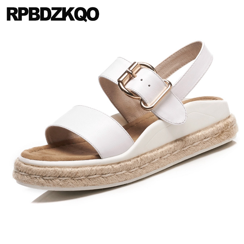 Strappy Flat Espadrilles Flatform Genuine Leather White Platform Shoes Soft Slingback Rope Designer Sandals Women Luxury 2017 2016 summer women flat platform slippers fashion hemp rope insole ladies genuine leather buckle sandals designer espadrilles