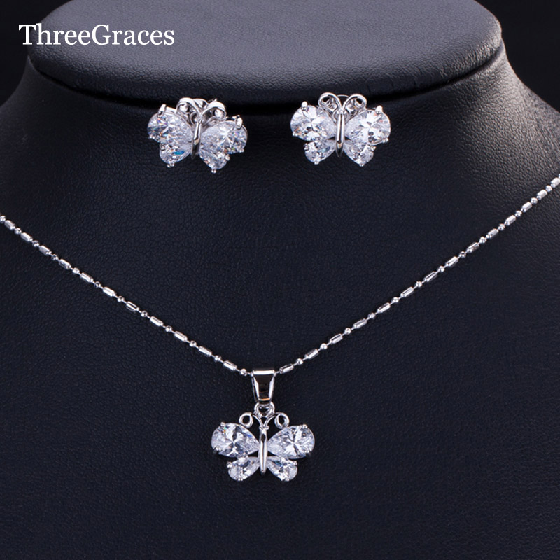 ThreeGraces Clear White Cubic Zirconia Butterfly Pendant Necklace Earrings 925 Silver Jewelry Sets JS163