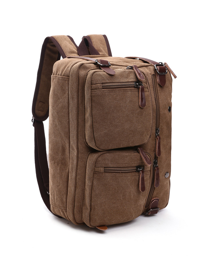 versatile laptop bag brown that can be used as a backpack