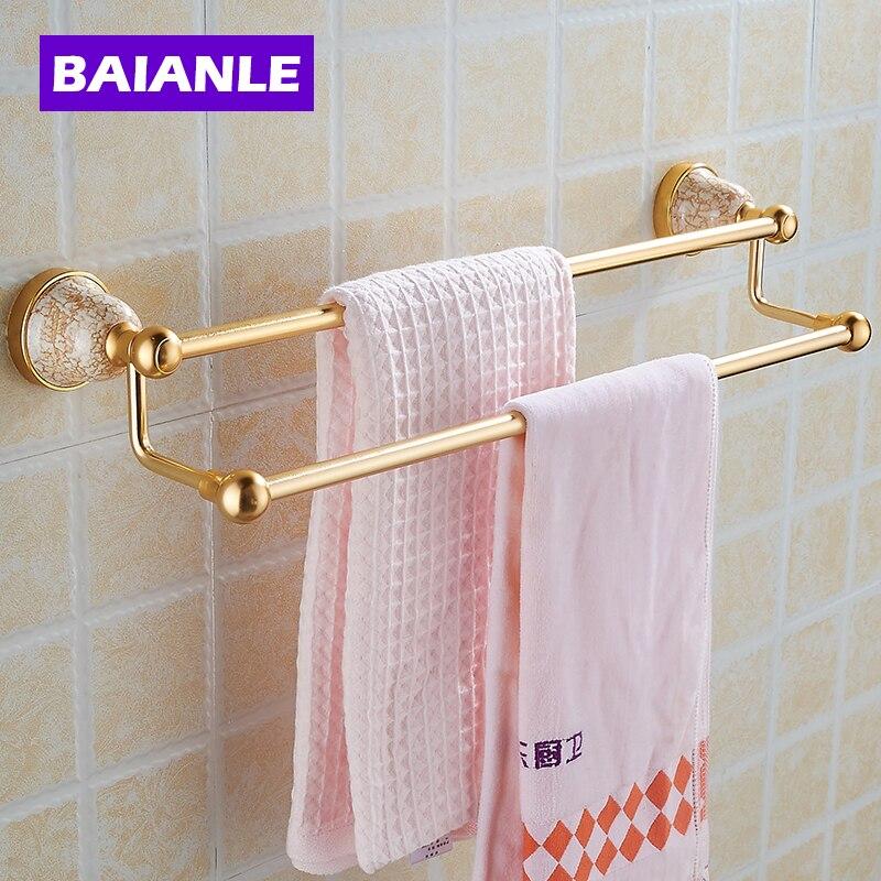 Free Shipping Double Towel Holder, Towel Rack Space Alumnium & ceramics Made Golden Finish Metal Double Towel Bars new space alumnium