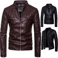 Brand New Mens Faux Leather Jackets High Quality Pu Leather Black Brown 5XL Spring Autumn Men Leather Jaket And Coat
