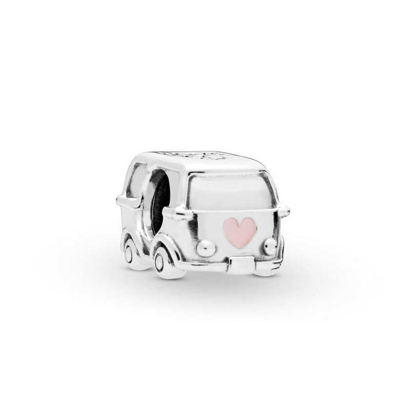 Free Shipping Authentic 925 Sterling Silver Bus Beads Camper Van Car Charms Fit Original Pandora Bracelet For Women DIY Jewelry