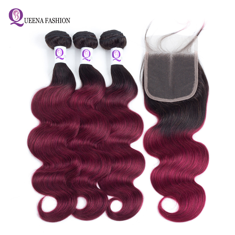 Ombre Straight Cambodian Hair Bundles With Closure Middle Part Remy Ombre Human Hair 1b Burgundy Bundles With Closure Baby Hair Human Hair Weaves