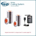 Restaurant wireless calling system keypad transmitter*1+charger base*2+coaster pager*20