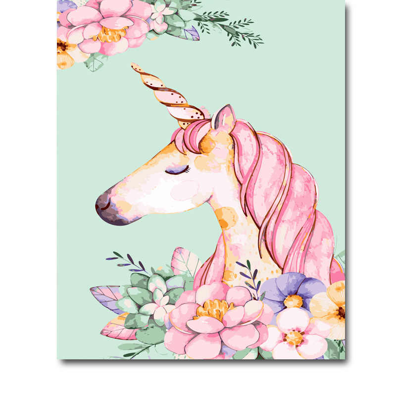 DIY Painting By Numbers Hand Paint Abstract unicorn Oil Pictures Pink Flower Kits Coloring Drawing Living Room Home Decor
