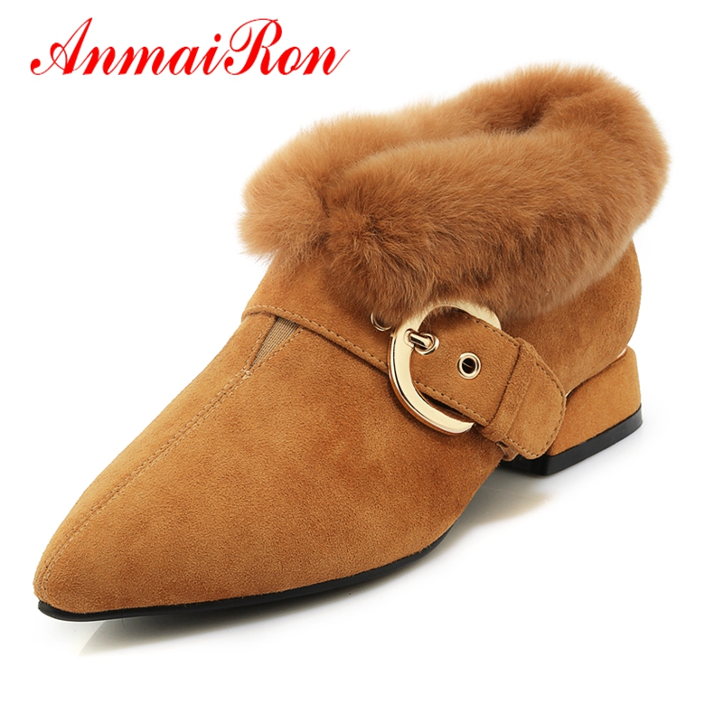AnmaiRon Woman Ankle Boots Pointed Toe Short Boots Womens Winter Fashion Snow Boots 2018 Size 34 40 LY034 in Ankle Boots from Shoes