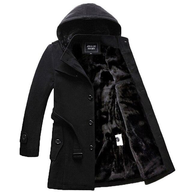 Nuevo llega la capa del Invierno thich Calidad Hombre Chaqueta de Invierno de Lana abrigo de Invierno de Abrigo Chaqueta de Bombardero chaqueta de Trinchera Hombres de la Capa gruesa JK035