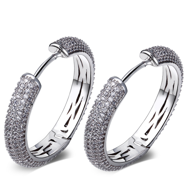 28 мм мода обруч серьги кристалл серьги для женщин родием с белым CZ серьги jewerly бесплатная пересылка