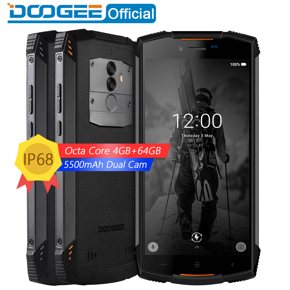 Настоящее IP68 DOOGEE S55 водонепроницаемый смартфон 4 ГБ Оперативная память 64 ГБ Встроенная память 5500 мАч MTK6750T Octa Core 5,5 дюйма Android 8,0 Dual SIM 13.0MP