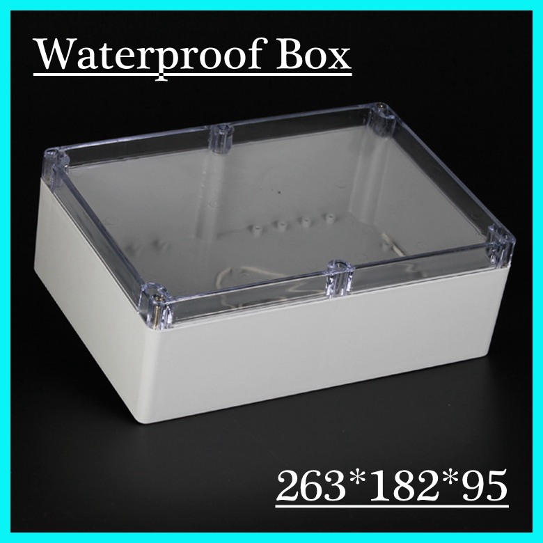 (1 piece/lot) 263*182*95mm Clear ABS Plastic IP65 Waterproof Enclosure PVC Junction Box Electronic Project Instrument Case 65 95 55mm waterproof case