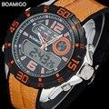 men sport watches men dual display watch rubber band  BOAMIGO brand 2017 orange men digital analog LED wristwatch 30M waterproof