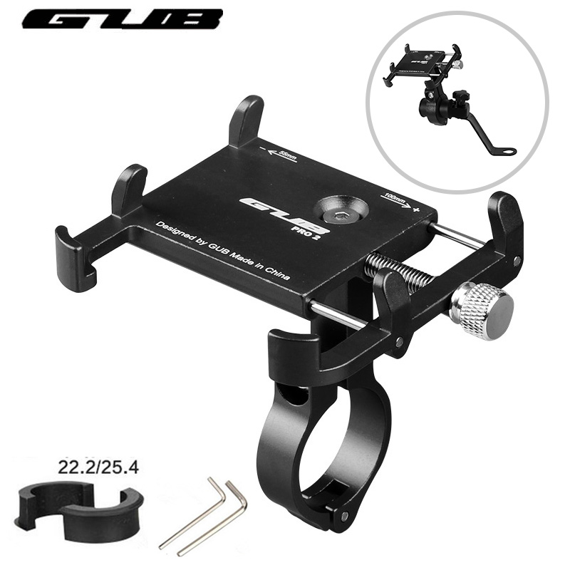 GUB Aluminum Universal Bicycle Phone Mount Holder MTB Mountain Bike Motorcycle Handlebar Clip Stand for 3.5 to 7.5 Smartphones