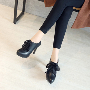 Image 5 - Big Size 11 12 13 14 15 ladies high heels women shoes woman pumps Round headed single shoe waterproof table lace strap