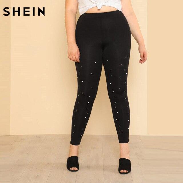 f32b1dd747059 SHEIN Plus Size Pearl Beading Black Leggins Fitness High Waist Elastic  Leggings Eyelet Lace Insert Elegant Skinny Pants