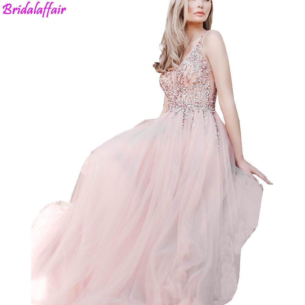 2019 V Neck Backless Long Elegant   Prom     Dresses   Sexy Bead Appliques Tulle Formal Evening Gown Women's Party Celebrity   Dress