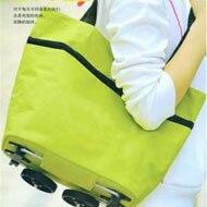 1PCS Portable Shopping Bag for Women Green Dot Flower Orange Dot Reusable Handbags Supermarket Cart Trolley Wheel Grocery Bags