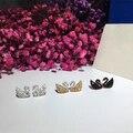 Designer de Moda 925 Prata Esterlina Jóias de Platina/Rosa Banhado A Ouro 3A Cubic Zirconia Partido Cisne Brinco